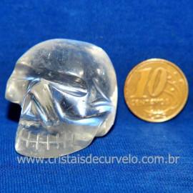 Cranio Quartzo Cristal Pedra Lapidado Artesanal Cod 119527