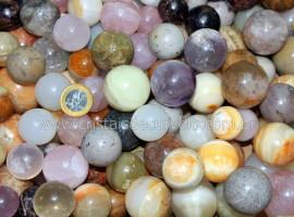 06 Mini Bola Pedras Mistas Colorida Esfera Pedra Natural e Pequena ATACADO