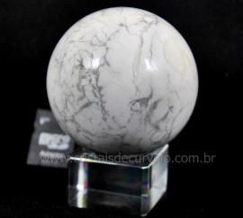 Esfera Howlita Mineral Natural Pedra De Garimpo Lapidado Manualmente Cod 538.6