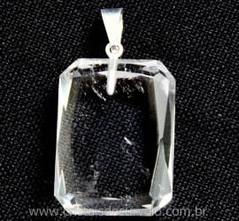 Pingente Quartzo Cristal Facetado Manual Montagem Pino Prateado