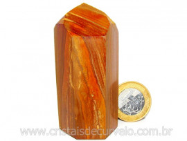 Ponta Jaspe Amarelo Pedra Natural  Lapidado Gerador Cod PA3130