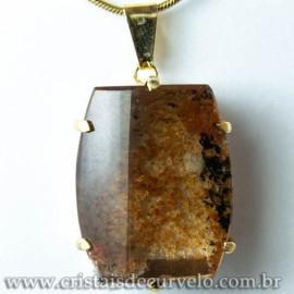 Pingente Pedra Cristal Lodolita Baguette Garra Dourada 112941