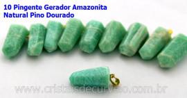 10 Pingente Pontinha Atacado Pedra Amazonita Presilha e Pino Dourado