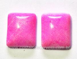 Par Retangulo Amazonita Rosa Natural Pra Brinco Reff RB4196
