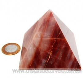 Pirâmide GRANDE Pedra Aragonita Vermelha Natural Queops 119023