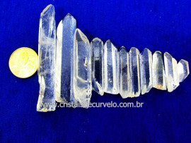 Cristal Laser Kit 11  Pedras Extra Quartzo Transparente Longo e Fino REF 50.2