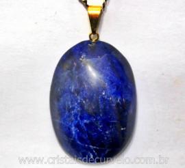 Pingente Cabochão SODALITA AZUL Pedra Natural Pino Dourado