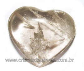 Coraçao Pedra Quartzo Fume com Esfumaçado Natural Cod 116099