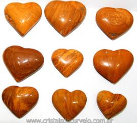 10 Coração Pedra Jaspe Amarelo Natural 4.7 a 6.5cm ATACADO