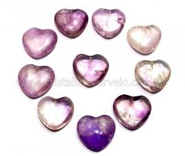 10 Coração Pedra Ametista Furado Pra Montagem 23x25mm REFF CF1662