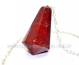 Pendulo Pedra Quartzo Vermelho Piramidal Lapidado Invertido Montado Corrente