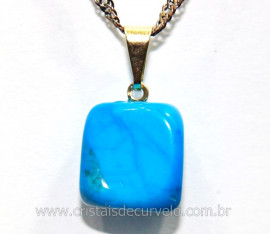 Pingente Howlita Azul Pedrinha Rolado Pino Dourado PP9649