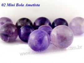 02 Mini Bola AMETISTA COMUM Esfera Pedra Natural e Pequena KIT AM9580
