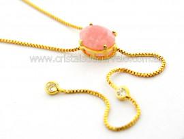Colar Gravata Pedra Quartzo Rosa Natural Dourado Reff CG6465