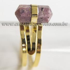 Anel Pontinha Pedra Rodonita Bi Ponta Ajustavel Dourado 113129