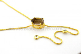 Colar Gravata Pedra Fume Gema Natural Dourado Reff CG2858