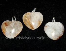 03 Pingente Coração Cristal Rutilado Natural Montagem Prata 950 ATACADO