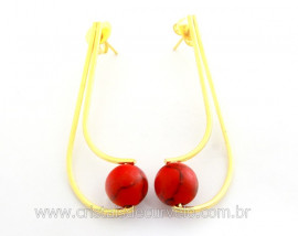 Brinco Boomerang Pedra Howlita Vermelha Dourado REFF BB2025