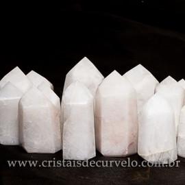 01 kg Pontas Quartzo Leitoso Gerador Lapidado Pedras de Garimpo