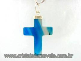 Crucifixo Agata Azul Pingente Cruz Pedra Natural  Banho Flash Dourado