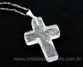 Crucifixo Cristal Pingente Cruz Pedra Natural Pino e Presilha Banho Flash Prata
