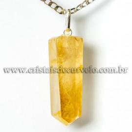 Pingente Pontinha Pedra Hematoide Amarelo Montagem Prata 950