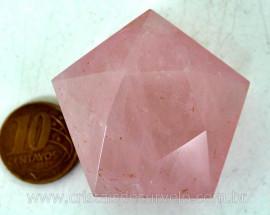 Pentagrama Simbolo Wicca Pedra Quartzo Rosa Estrela 5 pontas Tamanho Grande 50 a 100 G