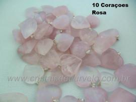 10 Coração ROSA Pedra Quartzo Pingente Banhado Prata