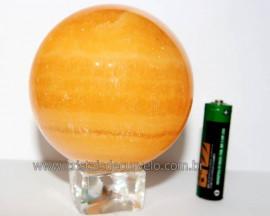Esfera Calcita Mexicana Pedra Natural de Garimpo Lapidada Cod EM4711