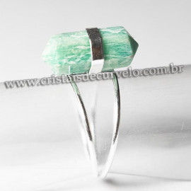 Anel Bi Ponta Pedra Amazonita Verde Sextavado Prata 950 Ajustavel