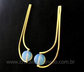 Brinco Boomerang Pedra da Lua Opalina Montagem Dourado REFF BB1455