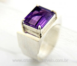 Anel Masculino Pedra Ametista Prata 950 Ajustavel Ref AM8200