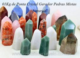 05 kg Cristal Gerador Pedras Mista Pontas Lapidado COMUM  Natural ATACADO