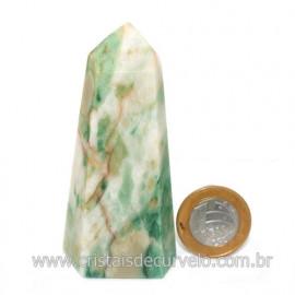 Ponta Jade Verde Lapidado Pedra Natural de Garimpo Cod 121207