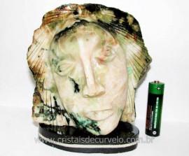 Busto de Artesanato Rosto Esculpido Pedra Esmeralda Cod RE8713