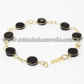 Pulseira Disco Pedra Obsidiana Negra Ranhurado Dourado 112819