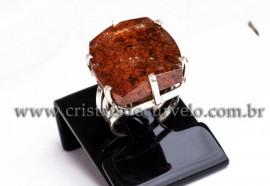 Anel Prata 950 Cristal Lodolita Natural Aro Ajustavel 112362