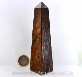 Obelisco Bronzita Pedra Natural com Lapidação Manual  Cod 490.9