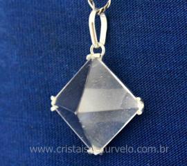 Pingente PIRAMIDE Pedra Cristal na Garra em Prata 950 Lapidação Piramide Pino Prata