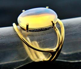 Anel Pedra da Lua Opalina Cabochão Oval Pequeno Dourado CP8731