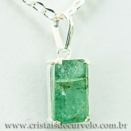 Pingente Esmeralda Facetado Berilo Prata 950 Garra 112457