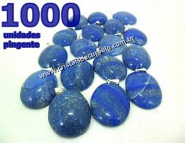 1000 Pingente Cabochão QUARTZO AZUL Pedra Natural Pino Banho Prata
