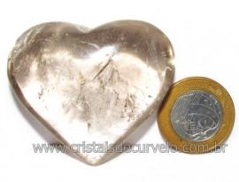 Coraçao Pedra Quartzo Fume com Esfumaçado Natural Cod 116105