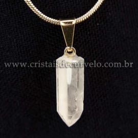 05 Pingente Micro Lemuria 15mm Pontinha Cristal Pino Dourado ATACADO