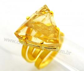 Anel Citrino Facetado Trillion Pedra Natural de Garimpo Banho Dourado Aro Ajustavel REF D81875