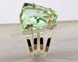 Anel Prata 950 Obsidiana Verde Trillion Montado em Prata de Lei Ajustavel REFF 44.8