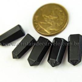 05 Micro Pontinha cristal Obsidiana Negra 15mm pra montar joias