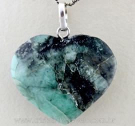Pingente Coração Pedra ESMERALDA Prata 950 Pino e Perinha REF CE7682