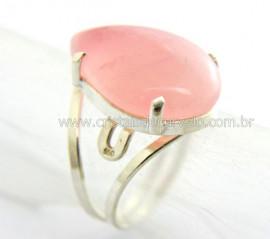 Anel Gota Pedra Quartzo Rosa Prata Aro Ajustavel REFF AP3152