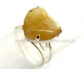 Anel Prata 950 Coração Pedra Rutilo aro Ajustavel Cod AP1262